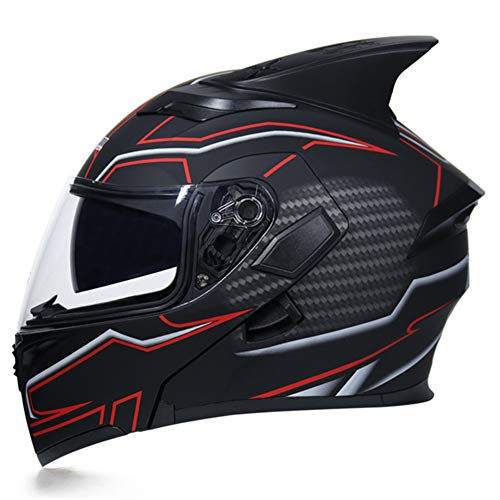 Oztklife JIEKAI Flip Up Shark Pinna Moto Casco Modulare Moto Casco con Visiera Interna di Sicurezza Doppia Lente Racing Full Face Caschi,L