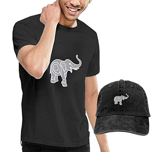 Herren Kurzarmshirt,T-Stücke,Elephant Short Sleeve T-Shirts Black (with A Cap) ComfortSoft Man's T Shirts Graphic Funny Round Neck Tee Basketball Hats Combination -