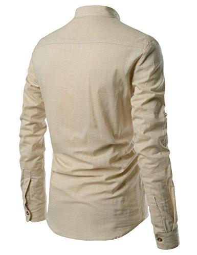 Nearkin -  Camicia Casual  - Collo mao  - Maniche lunghe  - Uomo NKNKN350-BEIGE