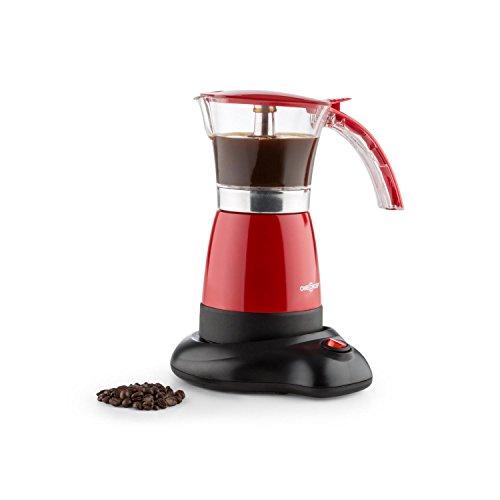 oneConcept Funpresso • Espressomaschine • Espressokocher • 300 ml • 480 Watt • Aluminium • durchsichtiger Aufsatz • kabellos • 6 Espressotassen • Cool-Touch Griff • Sicherheitsventil • stromsparend • leichte Reinigung • Antirutsch-Haftung • rot