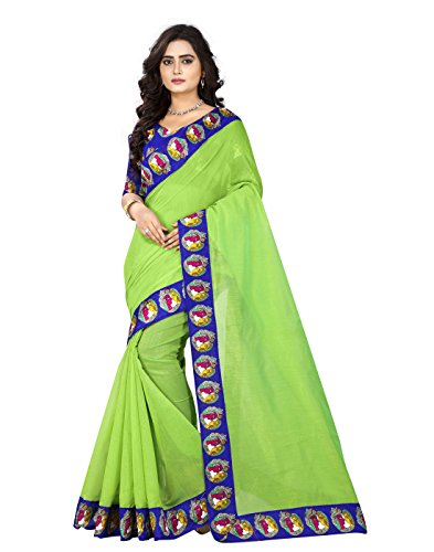 e-VASTRAM Womens Chanderi with Kalamkari Blouse and Border,With Unstitched blouse (BUDDHAG_Green)