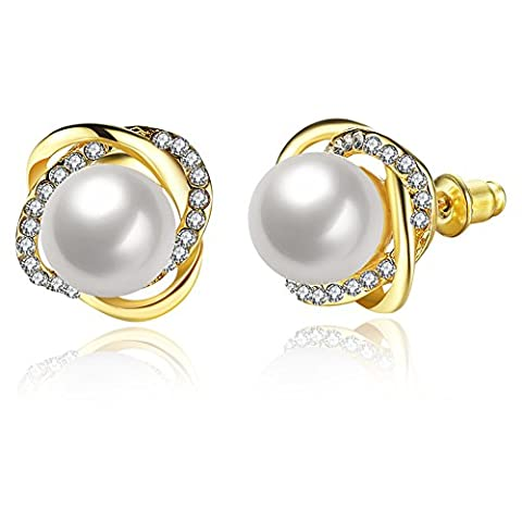 Buycitky 18K Yellow Gold Plated Twist Cubic Zirconia Pearl Stud Earrings for Women Pearl Post