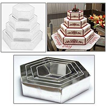 """4 Tier Multi Layer Geburtstag Hochzeitstag Kuchen Dosen - 6"""", 8"""", 10"""", 12"""" (3""""tief) (Hexagon)"""