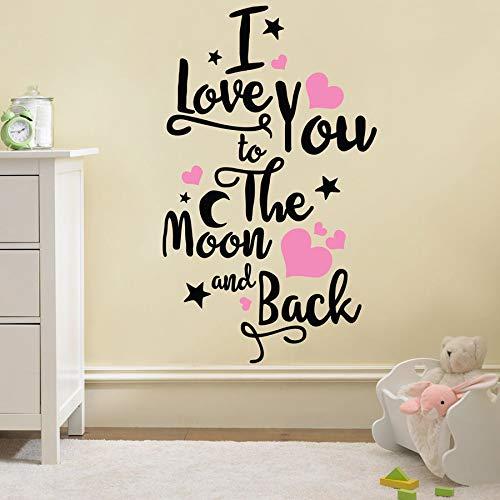 GUDOJK Wandaufkleber Wall Decal Removable Wall Sticker Ich Liebe Dich zum Mond und zurück zitiert Art Vinyl Wandbild Nursery Ro Wanddekor (Ro Zurück Wie)