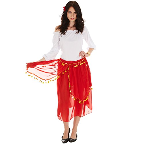 Frauenkostüm Gypsy Spanierin Flamenco | Oberteil mit modernem Carmen-Ausschnitt | Wundervoller Rock mit Gummibund | inkl. Blume fürs Haar (M | Nr. 301006) ()