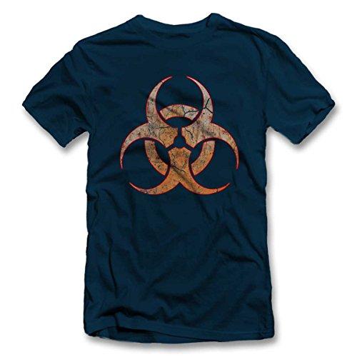 Biohazard Vintage T-Shirt dunkelblau-navy XL