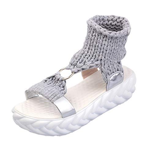 Katzen Womens Baumwolle (Women Sommer r Böhmen Schuhe Strandschuhe Flach Perlen Zehentrenner Sandalen Fashion Platform Sandals Comfort Big Size Casual Shoes)