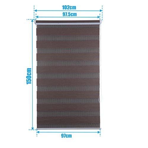 SHINY HOME® Duo Rollo Doppelrollo Klemmfix Fensterflügel mit Klemmträger Lichtundurchlässig Raffrollo ohne Bohren Sonnenschutzrollo Verdunklung Fensterrollo für Fenster oder Tür 100x150cm Kaffee - 2