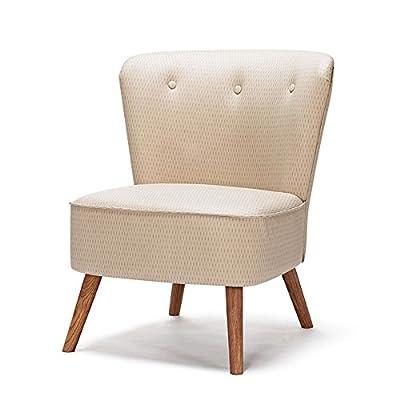 Hocker MAZHONG Sofa Stuhl europäischen Massivholz Einzigen Modernen Stoff Wohnzimmer Schlafzimmer Balkon Kleines Sofa (Farbe: Beige) von MAZHONG auf Gartenmöbel von Du und Dein Garten