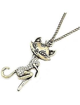 Vintage Halskette mit Katzenanhä