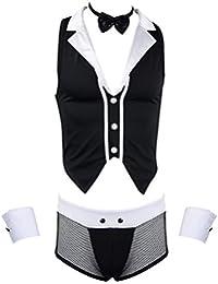 Freebily 4tlg Herren Barkeeper-Kostüm Kellner-Outfit Erotik Kostüm Rollenspiel Clubwear Unterwäsche Set Schleife Weste Manschetten Slip