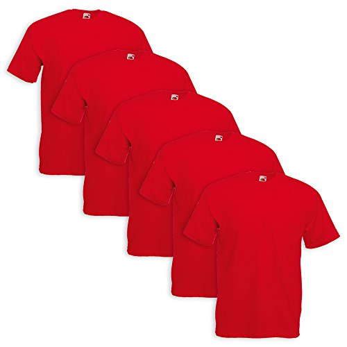 5er Pack T-Shirt Valueweight T - Farbe: Red - Größe: L