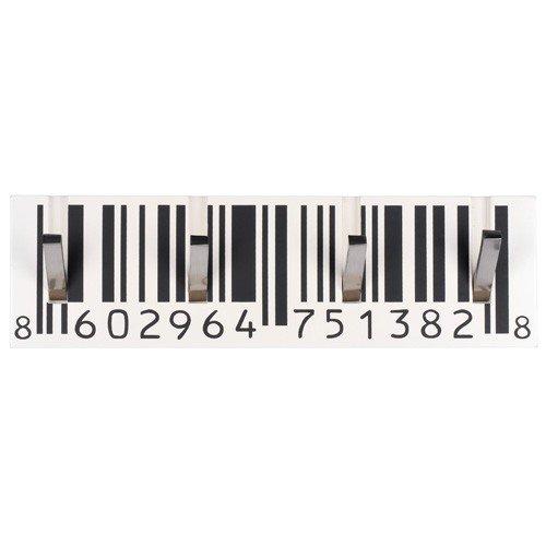 La Chaise Longue Porte-manteaux mural Code-barres 4 crochets Blanc noir et chrome Bois et acier 30-S2-017