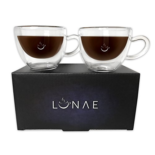 Lunae Espresso Cups, Double Walled Coffee Glass - 80ml – Set of 2