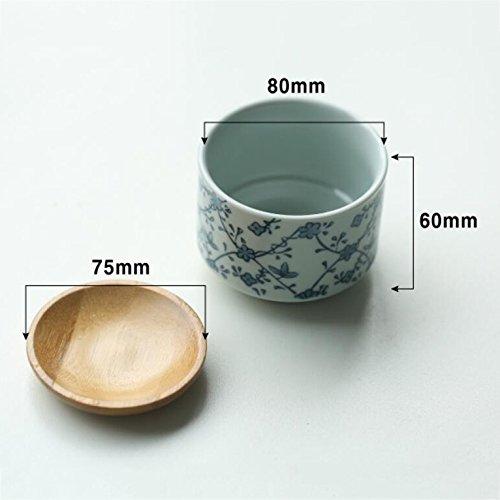 TT-AINI Pflanze töpfe Blumentopf blumentöpfe Keramik Bambusuntersetzer Sukkulenten Kaktus Modern Japanischer stil -C