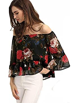 Yeamile💋💝 Camiseta de Mujer Tops Suelto Blusa Causal Camisetas Ocasionales Camisa de Negra de la Gasa Blusa...