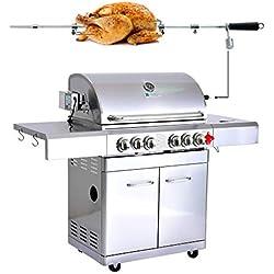 GREADEN- BBQ Grill Barbecue À Gaz INOX DÖNER- 4 BRÛLEURS+ 1 KIT RÔTISSOIRE (1 BRÛLEUR Infrarouge & TOURNEBROCHE)+ 1 FEU LATÉRAL et Thermomètre, 22KW, Grille/Plancha/Réchaud (Döner)