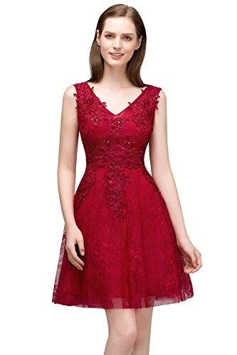 Damen Prinzessin A-Linie Tüll Abiballkleid Abschlusskleid Applikation rückenfrei knielang Rosa 38