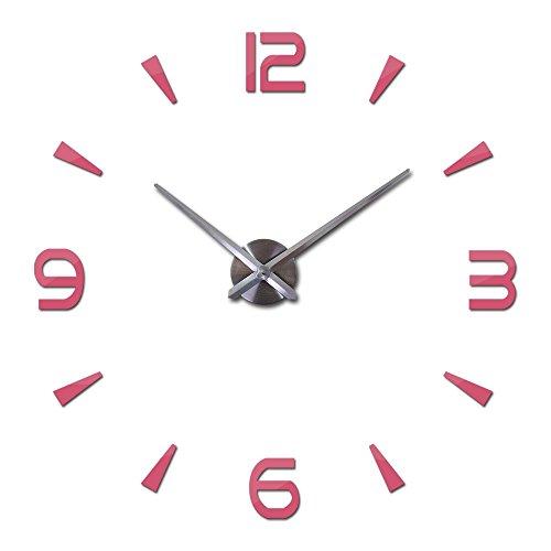 HONGYUANZHANG Wanduhr Uhr Quarz-Uhren DIY Acryl Wohnzimmer Aufkleber Spiegel 37pulg. Rosa
