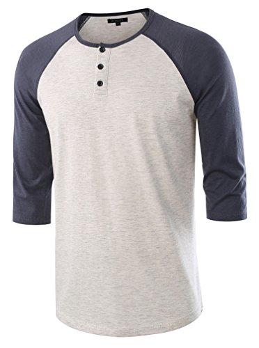 HETHCODE Herren Casual Raglan-Fit Soft-Baseball 3/4 Ärmel Henley T-Shirts - - Groß - Button-up T-shirt Henley