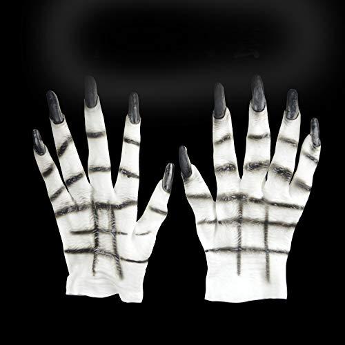 Hlzf Halloween Show Liefert Dress up Requisiten Handschuhe Beängstigende Wolfs Handschuhe Wolf Claw Handschuhe Party, Karneval, Weihnachten, Ostern,White