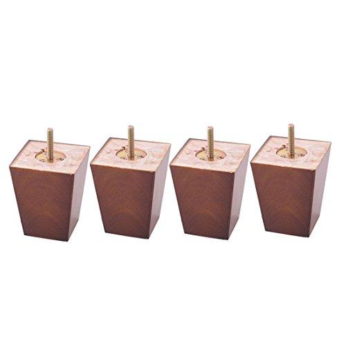 sourcingmap 4Pcs Küche Holz Quadrat Möbel Schrank Sofa Beine Braun 80mm x 60mm x 100mm (Küche Stühle-set Von Zwei)