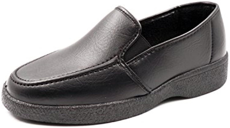 Zapato hombre polipiel SENA, color negro con elásticos laterales - 7223 - 1
