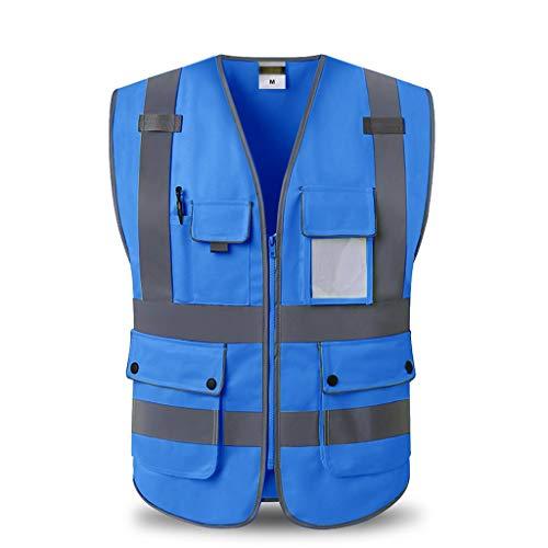 WM HOME Reflektierende Weste Baustelle Sicherheit Schutzkleidung Multi-Pocket Verkehrsweg Hygiene Weste Sicherheitskleidung (Color : Blue, Größe : XL)