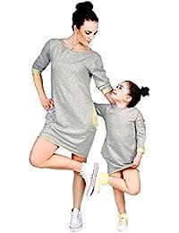 07edc1dd3 Longra Madre e Hija Vestido Casual Suelto cómodo de Color sólido