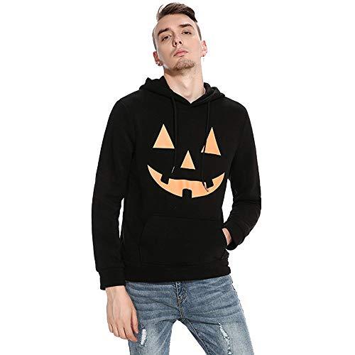 Halloween Sweatshirt,Transwen Herbst Winter Halloween-Männer Mode mit Kapuze Kürbis Print Langarm Top Bluse Shirts Pullover Slim Sweater Outwear (S, ()