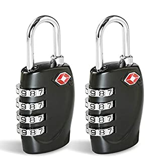 CFMOUR Suitcase Locks TSA Approved Luggage Locks (2 Pack) 4-Dial Combination Security Padlocks for Travel Suitcases Luggage Case Bag Code Lock - Black