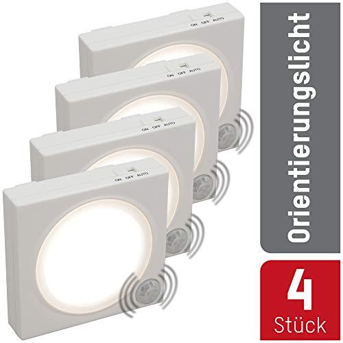 ANSMANN LED Nachtlicht mit Bewegungsmelder innen 4 Stück - LED Leuchte batteriebetrieben & stromsparend - Orientierungslicht mit Lichtsensor - Wandlampe Schranklicht Treppenbeleuchtung & Schlafzimmer