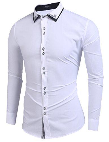 Coofandy Coofandy Herren Hemd Aus Bambusfaser umweltfreudlich Elastisch Slim Fit für Freizeit Business Hochzeit Reine Farbe Hemd Langarm Herren-Hemd