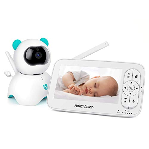 Babyphone Vidéo, 5 Pouces HD 720P Babyphone Caméra avec Alarme de Température & Son, Vision Nocturne, Angle de Vision à 360°, Communication Bidirectionnelle, Longue Portée à 300M