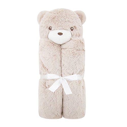 JYSOPRT Cute Baby Comfort Decke Plüsch Sicherheitsdecke Badetuch mit Stofftier Super weich und flauschig für Baby Jungen und Mädchen Toddles (Braunbär, 76 * 76 cm)