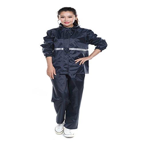 Aelegant Unisex Damen/Herren Regenbekleidung 2 Stück Regenhose und Jacke Set Outdoor Wasserdichte Regenmantel Atmungsaktive Regenbekleidung