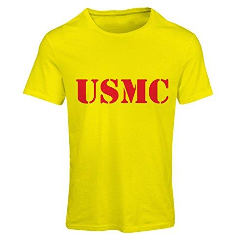 Frauen T-Shirt USMC Emblem, Marine Corps, Marines Logo, US Navy Armed Forces (Small Gelb Rote) (Usmc-logo-aufkleber)