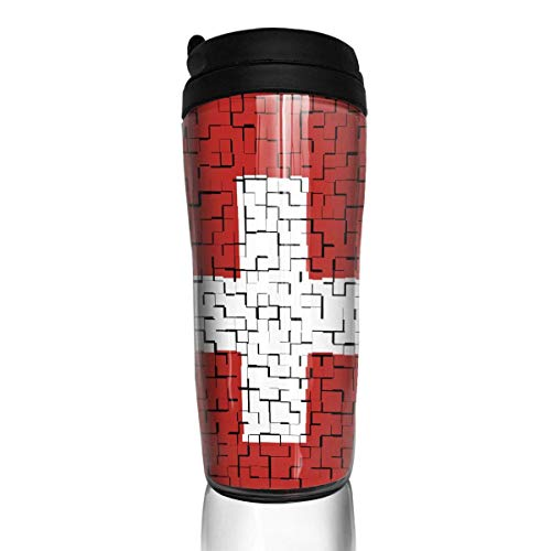 Travel Coffee Mug Switzerland Flag Puzzle 12 Oz Spill Proof Flip Lid Water Bottle Environmental Protection Material ABS