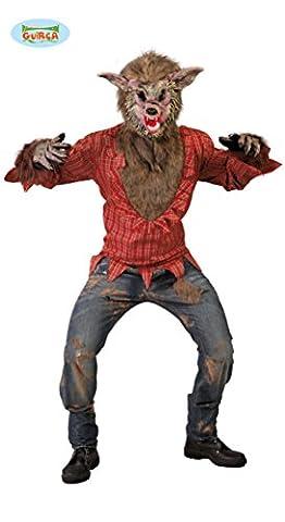 Werwolf Kostüm Böser Wolf Maske Fell Pelz Horror Karneval Halloween Fasching M/L, Farbe:Rot/Gemustert;Größe:Einheitsgröße