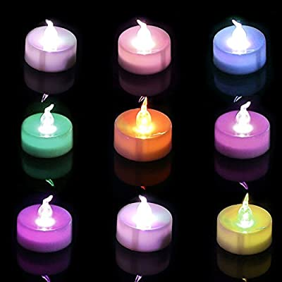 Homemory Battery Color Changing Tea Lights, Flameless Colorful Rainbow LED Tealights, Pack of 12, 7 Colors Flashing Cycle Candles Light for Celebration, Party, Gift, Valentine's Day from Xiamen Global Selection Imp & Exp Co., Ltd