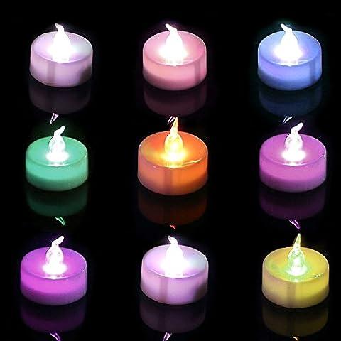 Homemory Lot de 12 Lumières Bougies à LED, de Thé à Piles sans flammes,Changement de Couleur, Réaliste et Bright, Puissance de la Batterie, Fausses Bougies électriques pour Votive, Table Party Anniversaire