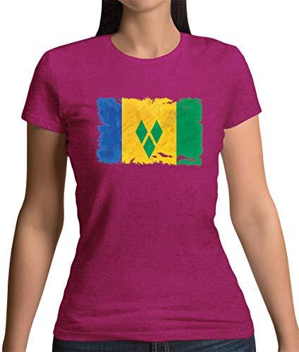 Saint Vincent and the Grenadines / St. Vincent und die Grenadinen Flagge im Grunge-Stil - Damen T-Shirt - Beere - XXL