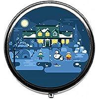 LinJxLee Christmas Night Portable Round Pill Case Pill Box Medicine Box Medicine Tablet Vitamin Organizer for... preisvergleich bei billige-tabletten.eu