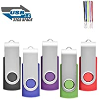 5Pack 32GB USB 2.0 Thumb Flash Drives Swivel Design Pen Memory Stick Fold Storage (Mixed Color With Lanyard)