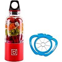 Mixeur Blender, Mini Blender des Fruits 500ml avec Fruits Trancheuse et USB Câble pour Jus Jam Milkshake Légumes et Fruits plastic red, by LC Prime