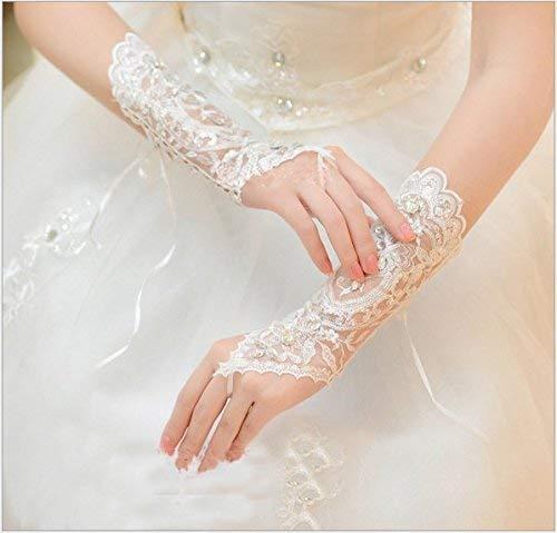 Brauthandschuhe Spitzenhandschuhe Hochzeit Braut Hochzeitshandschuhe Brautkleid Spitze Fingerlose Handschuhe mit Spitze Blumen für Hochzeitsfest ( Farbe : Weiß ) - 5