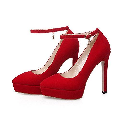 à Boucle Unie Chaussures Haut Dépolissement Pointu Légeres Couleur Talon Rouge VogueZone009 Femme 10qInxA