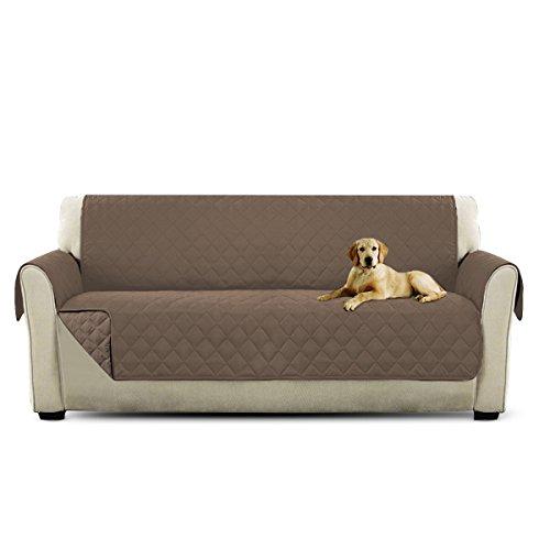Petcute copripoltrona per divano trapuntato luxury protegge da animali extra morbido marrone chiaro 3 plazas