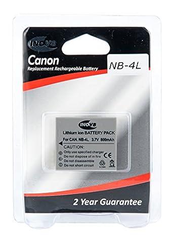 Inov8 Replacement Lithium Digital Camera Battery R-C-B Canon NB 4L, NB-4L, NB4L, 800mAh 3.6V (Pack of