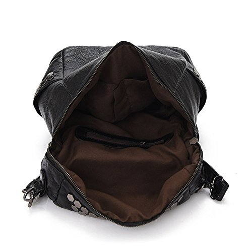 Honeymall Damen Mode aus Weichem Leder Rucksack Schulterbeutel Niet Vintage Satchel Daypack(Schwarz) - 9